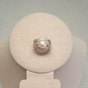 Freshwater Pearl & White Zircon Sterling Ring